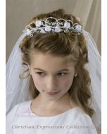 First Communion Wreath Veil Double Layer with Satin Flowers and Pearls