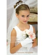 First Communion Wreath Veil with Pearl Loops
