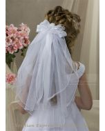 First Communion Clip Veil with Organza Bow