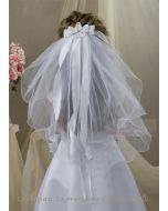 First Communion Clip Veil with Satin Bows and Rosette Center