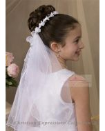 First Communion Wreath Veil with Satin Rosebuds