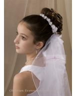 First Communion Wreath Veil with Dainty Flowers