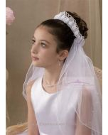 First Communion Crown Veil with Intricate Details