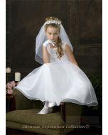 First Communion Dress with Sheer Neckline Organza Skirt