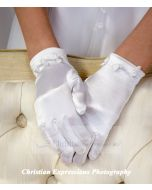 Satin Gloves w/Small Rosettes