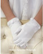 Satin First Communion Gloves with Roses