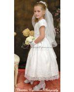 Girls First Communion Dress with Eyelet Floral Design