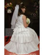 First Communion Dress Layered Skirt with Pearls