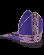 Bishop's Mitre Purple with Fleur Banding