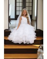 Lace First Communion Dress with Ruffled Skirt