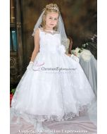 First Communion Dress Satin with Flowing Lace