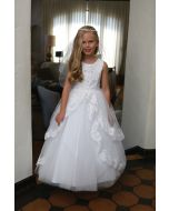 Satin First Communion Dress with Layered Lace Skirt