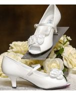 Shoes girls white First communion shoes satin flowers and strap