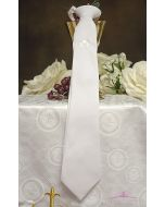 Boys first communion tie white with Embroidered Irish Shamrock