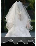 First Communion Veil with Wire Merrow Lettuce Edging and Pearls