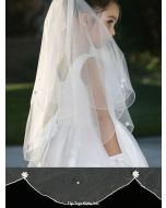 First Communion Veil with Scalloped Cord Edging Lace Flower and Pearl Beads