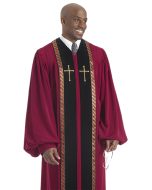 Pulpit Robe Wesley Red with Black Panels-Gold Trim-Crosses