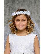 Rhinestone Gem Pearl Flower Crown First Communion Veil