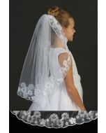 Single Layer First Communion Veil with Floral Embroidery