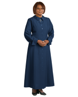 Women's Navy Blue Clergy Church Dress with Latin Cross