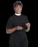 Womens Black Neckband Collar Clergy Blouse Short Sleeve
