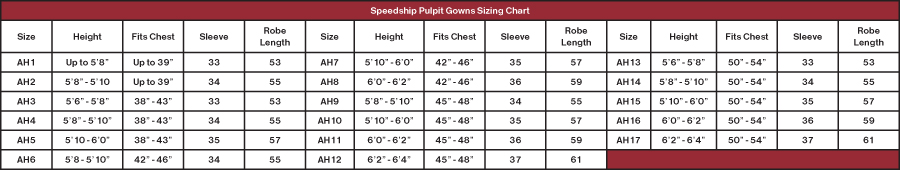Gold Clergy Robe Size Chart