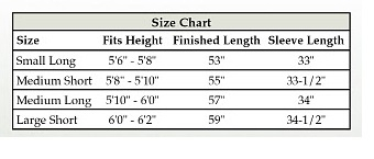 Men's Clergy Robe Size Chart