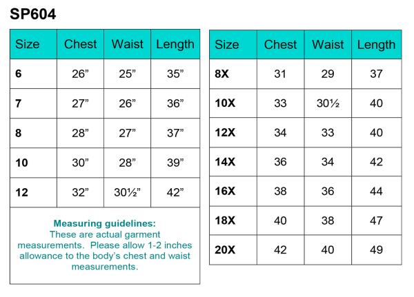 First Communion Dress SP604 Size Chart