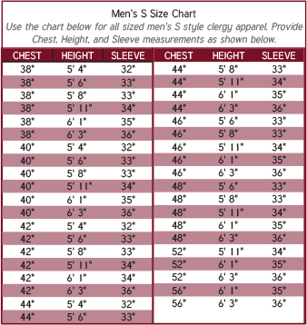 Mens Clergy Robe Size Chart