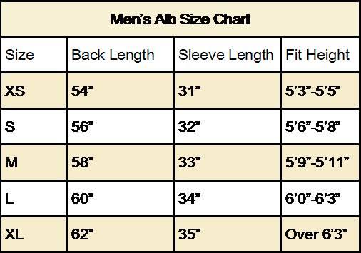 RJ Toomey Alb Size Chart