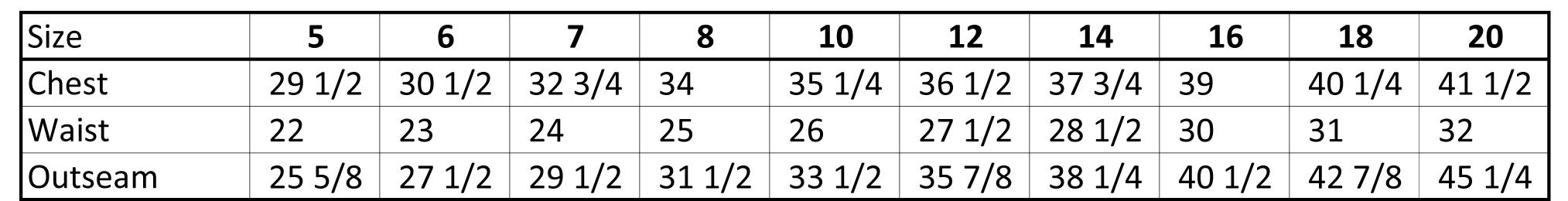 Boys Holy Communion Suits Size Chart