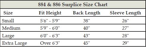 Clergy Surplice Size Chart
