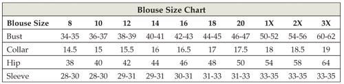 Women's Clergy Blouse Size Chart