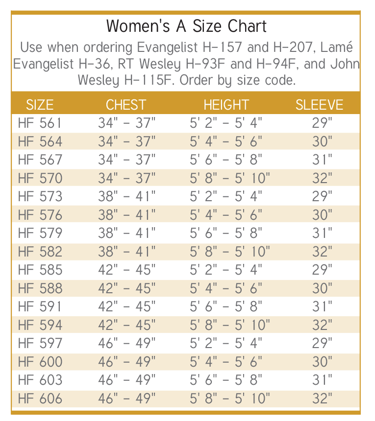 womens clergy apparel size chart